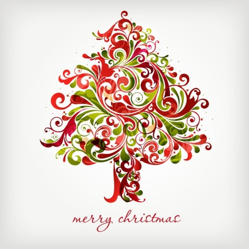 Floral Swirls Tree for Christmas Vector Graphic